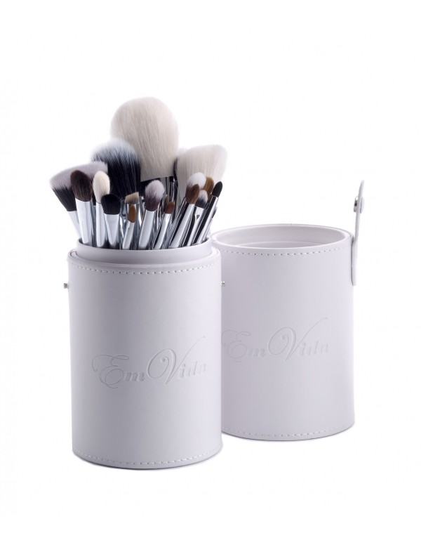 18pcs makeup brushes set in white tubby case