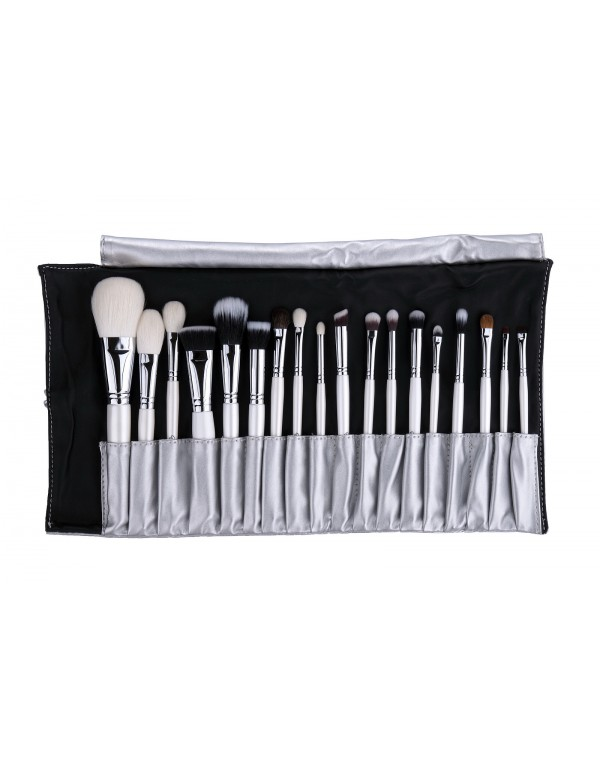 Set 18 pcs in silver brush roll limited Em Vida
